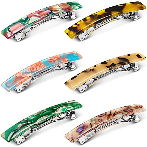 6 Pasadores de Pelo de Acetato de Diseño Francés Clips de Pelo Rectangulares de Celulosa de Concha de Tortuga Pasadores de Pelo Retro Vintage Pinzas de Cabello Automáticas (Serie Vintage)