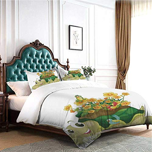 4 Pieces Bedding Set Reptile Funny Floral Turtle Talking with Colorful Humming Birds Tortoise Ninja Home Decoration Full Size for Cute Girls