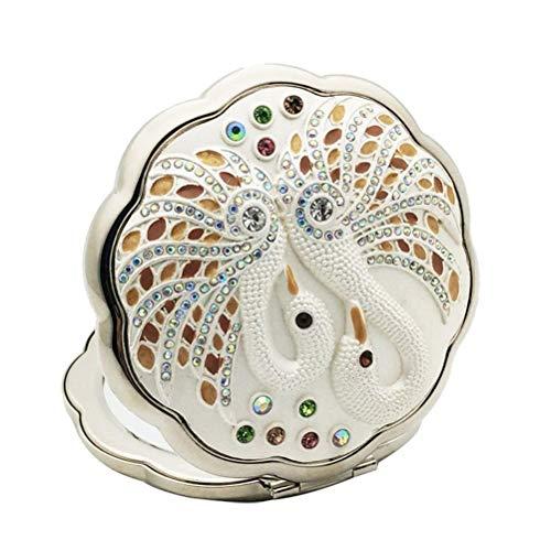 Leilims Vintage Strass décor Miroir Compact Mini Ronde Pliante Miroir for Porte-Monnaie