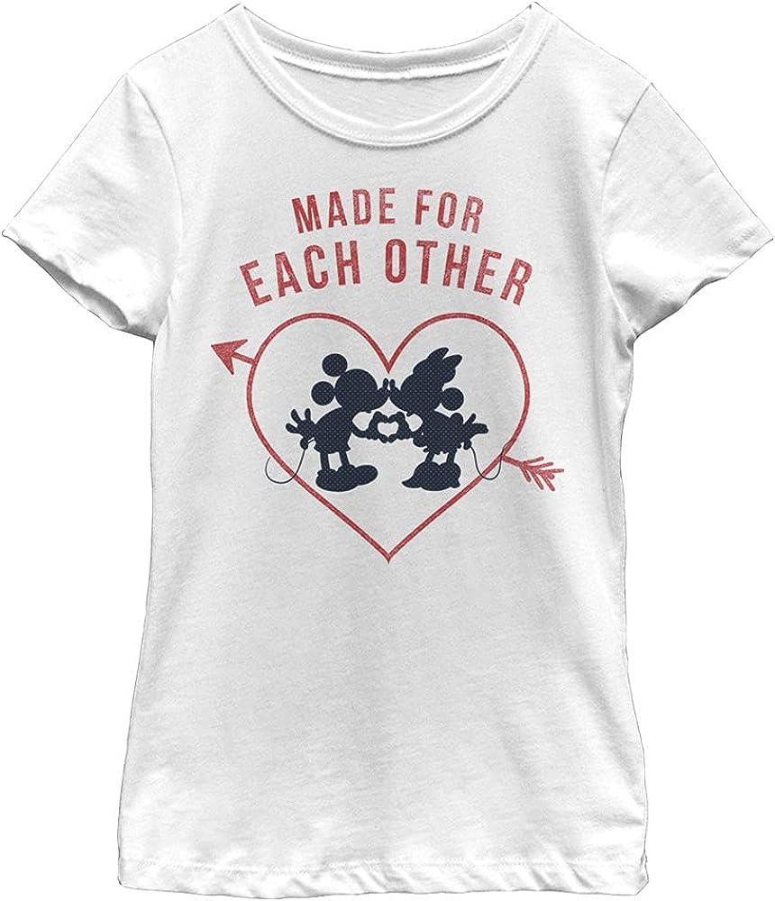 Disney Characters Heart Polka Dot Silhouette Girl's Solid Crew Tee