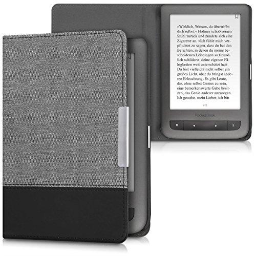 kwmobile hoes compatibel met Pocketbook Touch Lux 3/Basic Lux/Basic Touch 2 – Canvas beschermhoes in grijs/zwart – Voor e-reader –