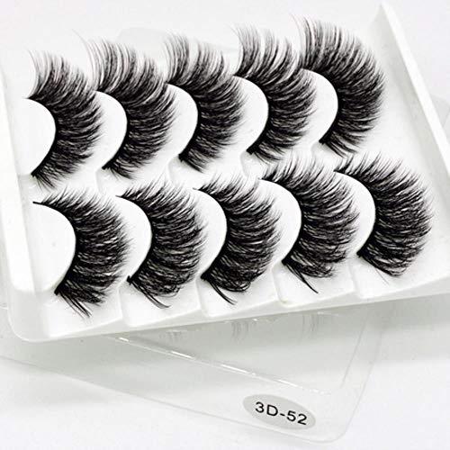 KADIS 5 Pairs Natural False Eyelashes Fake Lashes Long Makeup 3D Lashes Eyelash Extension Eyelashes for Beauty,3D-52