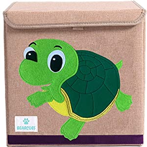 BEARCUBS Small Toy Chest Foldable Stackable Storage and Organization Box for Kids – Nursery, Living Room, Playroom – Toy Bin with Lid – Designs for Boys and Girls (Turtle)