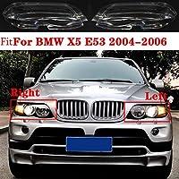 車のヘッドライト保護シェル BMW X5 E53 2004年から2006年オートシェルヘッドライトランプシェードヘッドライトランプのために車をクリアヘッドライトシェードの車のフロントヘッドライトレンズカバーフィットはLampcoverガラスカバー (Color : Right)