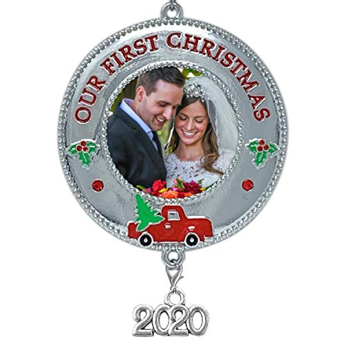 BANBERRY DESIGNS 2020 Our First Christmas Ornament – Keepsake Photo Frame with Vintage Red Truck Design- Couples 1st Xmas Picture Ornaments
