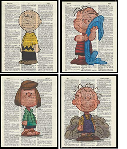 Set of 4 Charlie Brown Pigpen Peppermint Patty and Linus Dictionary Page Art Print Picture Poster Home Office Bedroom Nursery Kitchen Wall Decor - unframed
