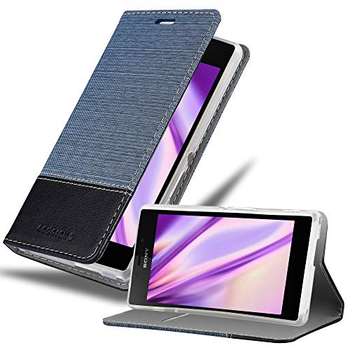 Cadorabo Hülle für Sony Xperia M2 in DUNKEL BLAU SCHWARZ - Handyhülle mit Magnetverschluss, Standfunktion & Kartenfach - Hülle Cover Schutzhülle Etui Tasche Book Klapp Style