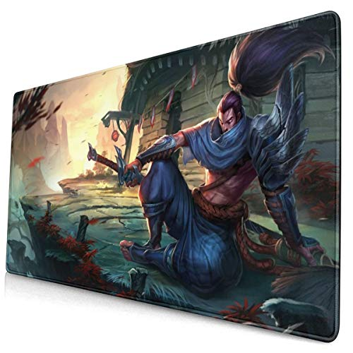 """Large Mouse Pad for League of Legends Yasuo with Stitched Edges Gaming Mouse Mat Non-Slip Rubber Base Mousepad for Laptop,Computer,PC,Keyboard,11.8""""x23.6"""""""