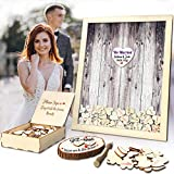 Wedding Guest Book Alternative Pen Sign Drop Top Wooden Frame for Baby Shower Birthday Party Decoration 120 Hearts