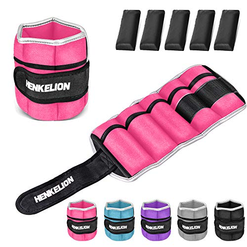 Henkelion 1 Pair 10 Lbs Adjustable Ankle Weights For Women Men Kids, Strength Training Wrist Weights Ankle Weights Set For Gym, Fitness Workout, Running, Lifting Exercise Leg Weights - each 5 Lbs Pink