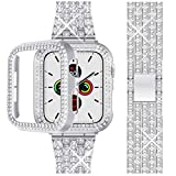 Beuxece Bling Band Compatible Apple Watch Band + Shining Case38mm/40mm/42mm/44mm, iWatch Series 5/4 3/2/1 band, Metal Jewelry Rhinestone Diamond Bracelet Wristband Strap Replacement for Women, Silver(44mm)