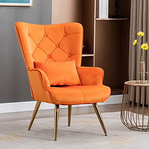 Artechworks Modern Velvet Buttoned Armchair Accent Occasional Lounge Chair with Gold Metal Legs and Pillow,Scandi High Back Leisure Chair for Living Room,Bedroom,Home Office,Balcony,Orange