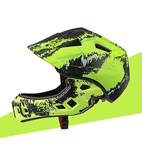 YZT QUEEN Fahrradhelm Kinder reiten Helm Schutzschutz Sporthelm 16-Loch-Atmungshelm Abnehmbarer Vollgesichtskinnschutz Balance Fahrradhelm,Fluorescent Yellow
