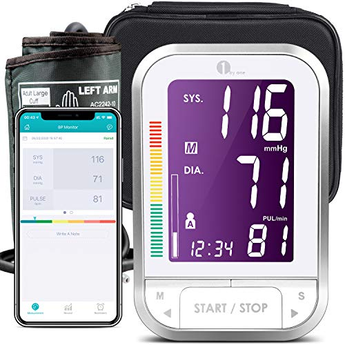 1byone Blood Pressure Monitor Upper Arm with Large Cuff, Bluetooth Automatic BP...