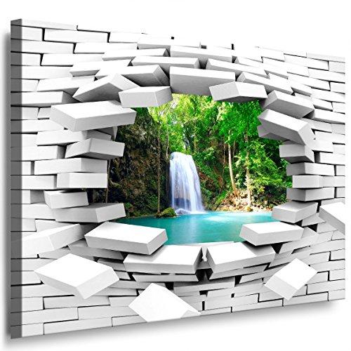 Julia-Art Bilder - Mauerloch 80 x 70 cm Leinwandbild XXL Wandbild Wanddeko modern Kunstdruck Wasserfall 47wl4