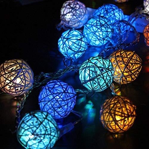 ZHQIC 2.5M 20 Bola de ratán Luz LED Cadena Guirnalda de Navidad Sala de Bodas Decoración de Luces de Hadas para la Cadena de iluminación de la Fiesta de Vacaciones