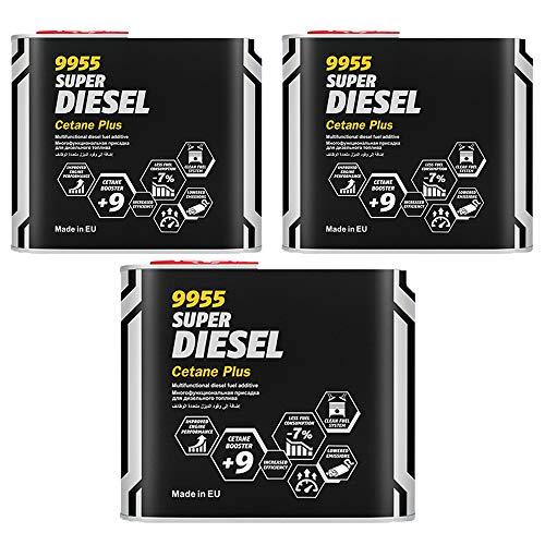 MANNOL 3 x 500 ml, 9955 SUPER Diesel CETAN Plus Kraftstoff ADDITIVE