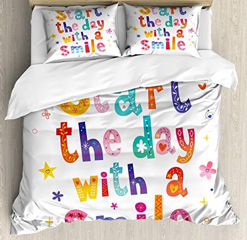ABAKUHAUS Glimlach Dekbedovertrekset, Begin de dag met een glimlach, Decoratieve 3-delige Bedset met 2 Sierslopen, 230 cm x 220 cm, Veelkleurig
