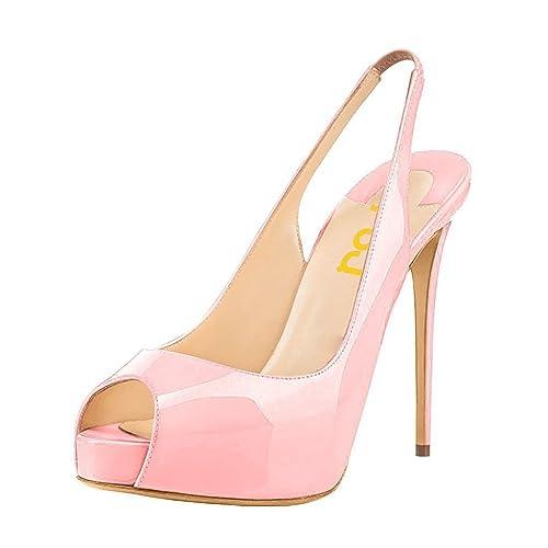 FSJ Women Peep Toe Extreme High Heels Platform Sandals Slingback Stiletto  Prom Dress Pumps Size 4 45141efa6279