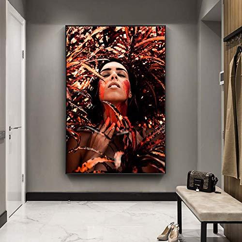 N / A Pintura sin Marco Decoración de Muebles Modernos Pintura Personalidad Femenina Pintura al óleo Lienzo Arte sofá Sala de Estar Dormitorio decoración Pintura ZGQ5533 60X90cm