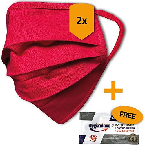 2er Pack Mundschutz waschbar aus 100% Bio-Baumwolle Oeko-TEX 100 Standard, nachhaltig, Earloop-Design | Wiederverwendbare Behelfs-Abdeckung für Mund Nase in rot