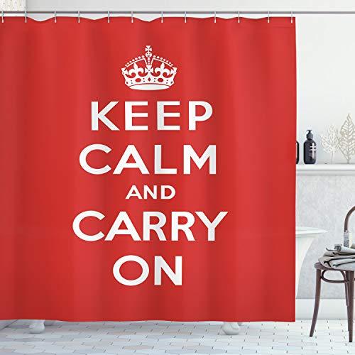 ABAKUHAUS Ruhig bleiben Duschvorhang, Royal UK Krone Rot, mit 12 Ringe Set Wasserdicht Stielvoll Modern Farbfest & Schimmel Resistent, 175x220 cm, Weiß Rot