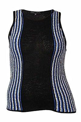 Sanctuary Women's Striped Knit Sleeveless Sweater (XL, Black/Blue/White)