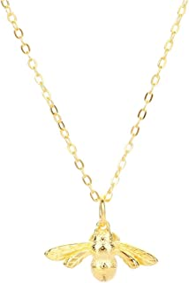 lureme Sterling Silver Lovely Tiny Honey Bee Pendant Necklace for Women and Girls (nl005775)