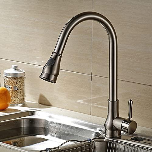 Mainen Grifo de cocina extraíble dibujo grifo de cocina con ducha grifo mezclador giratorio de 360 ° grifo de fregadero de una sola palanca grifo de fregadero de cocina de alta presión