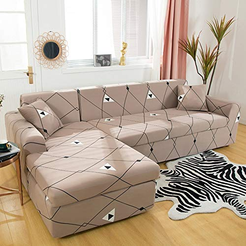 Fundas elásticas para sofá para Sala de Estar, Funda geométrica para sofá, Funda para sofá, Esquina, en Forma de L, Chaise Longue, Funda para sofá A27, 2 plazas