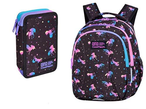 COOLPACK Rucksack Schulrucksack 21 Liter + Federmappe Federtasche 35-teilig gefüllt 2-fach LED Unicorn Einhorn