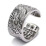 Beydodo Herren Ring Silber 925 Drachen Buddhistische Sutra Gothic Ring Silber Freundschaftsring Große 54 (17.2)
