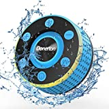 Donerton Bluetooth Shower Speaker, IP7 Waterproof Wireless Speakers with HD Sound Stereo, Portable Speaker, LED Light Mini Speakers with Suction Cup, Radio, TWS Mode, Built-in Mic, Handsfree(Blue)