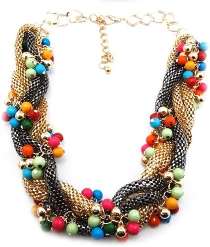 wiipujewelry Ladies Chunky Statement Ball Beads Metal Mesh Braided Chain Collar Necklace(WP-562)