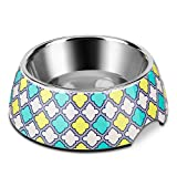 Flexzion Stainless Steel Dog Bowl Cat Dish - Anti-Slip Slip Resistant Rubber Base Pet Feeder, Dishwasher Safe & Rust Resistant with Removable Food Water Holder up to 24 Fl Oz (Diamond Check)