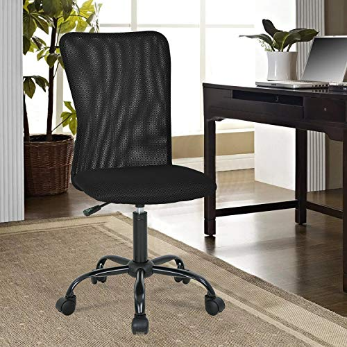 OffiClever Ergonomic Office Mesh Support Modern Executive Mid Back Rolling Swivel Chair for Men&Women, Black