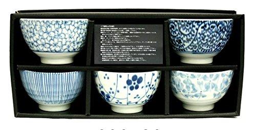 Japanisches Teeschalen-Set SOMETSUKE hergestellt in Japan Geschenkbox Ø 9, H 5,8 cm