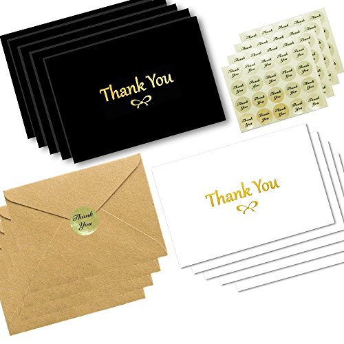 100 Thank You Cards With Gold Foil Embossed Designs | 4 x 6 Inches, Bulk Blank Note Cards With Envelopes And Gold Stickers | Perfect For Wedding Bridal Shower Baby Shower Christmas Kids (Black White)
