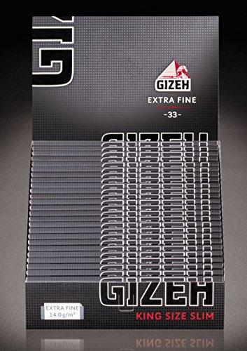 Gizeh Extra fine King Size Slim Papers Blättchen Magnetverschluss 2 Boxen (50x Heftchen/Booklets)