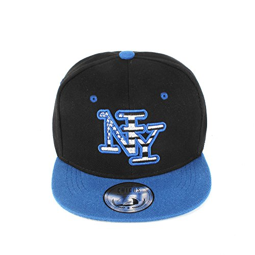 New Boy Girl NY New York süße Unisex Schwester Bruder Kindercap Hai Tiger Adler Prince Kinder Cap Snapback und Mütze 48-58cm Kopfumfang (One Size, NY Outline Black Royal)