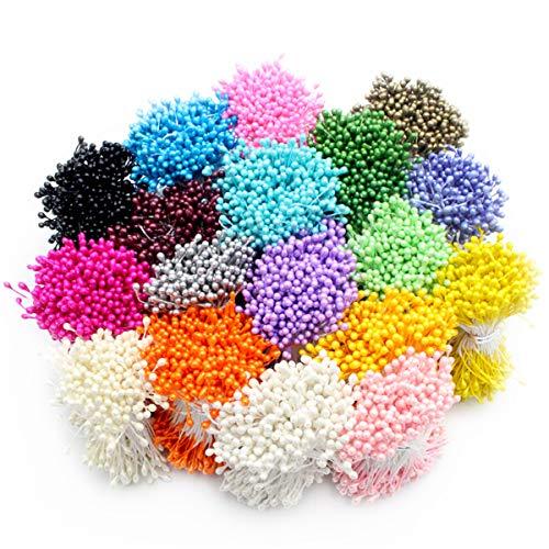 LKXHarleya 1000pcs / Lot Mini Teste Artificiali Doppie del Fiore della Perla del Pistillo di Stamen della Decorazione del Mestiere della Casa