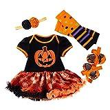 LNL Bebé niña Disfraces de Calabaza de Halloween Romper Tutu Falda de Encaje + Calentador de piernas + Zapatos + Diadema 9-18 Meses