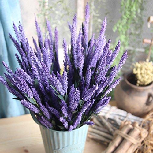 Bescita 12-heads artificielle PE Lavande Faux Fleur Bouquet de mariage fête Décoration de maison