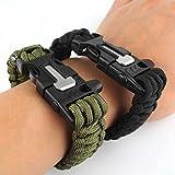 Survival Armband, Set mit zwei Survival-Armbändern, Paracord, mit Pfeife, Feuerstein, Schaber zum Feuer machen, für Aktivitäten im Freien (schwarz & Armee-Grün)