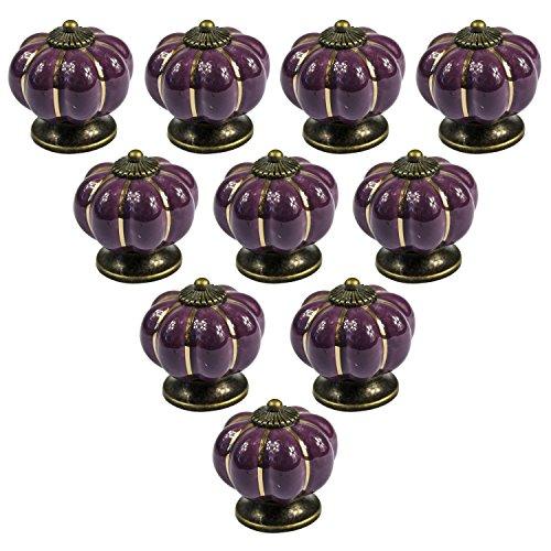 PsmGoods® - Perilla estilo europeo vintage de cerámica con forma de calabaza para puerta, cajón, aparador de cocina, armario, alacena, 10unidades, morado