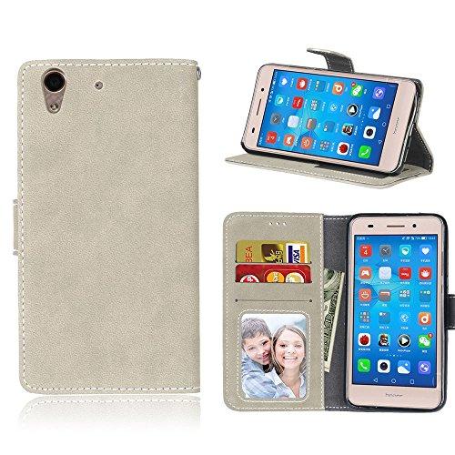 Janeqi para Huawei Honor 5A/Y6 II(5.5') Funda Cáscara - Funda de Cuero Flip Helado Vintage con Bolsa de Tarjetas Anti-caída de Negocios Case Cover - H5/Gris