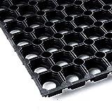 Vivol Gummi Ringmatte 80x120 cm Schwarz - Fußmatte für außen im Garten oder an der Hintertür - Gummimatten aussen im verschiedenen größen erhältlich