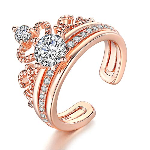 Wisslotus Exquisite 18K Rose Gold Plated Clear CZ Diamond Princess Crown Tiara Rings Set Cubic Zirconia Accented Fashion Ring Rose gold