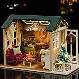 Decdeal DIY Puppenhaus 3D Holz Miniaturhaus Kit mit LED Licht Kunsthandwerk Geschenk für Valentinstag, Kindertag, Weihnachten, Hochzeit, Geburtstag - 4