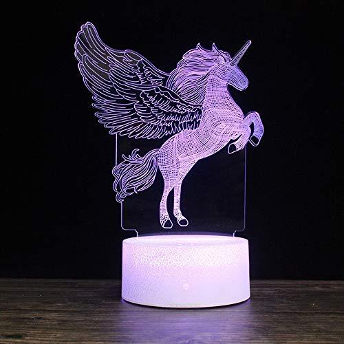 kengbi Equipo de iluminación para el hogar Salto de Unicornio Forma Unicornio Creative Crack Base 3D Lámpara de Escritorio de luz de luz Decorativa Colorida, versión táctil